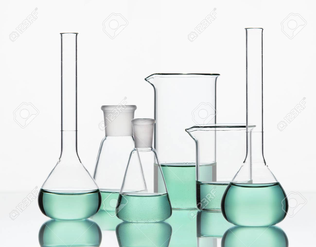 Laboratory Supplies  Transparent Glassware With Colorful Chemical