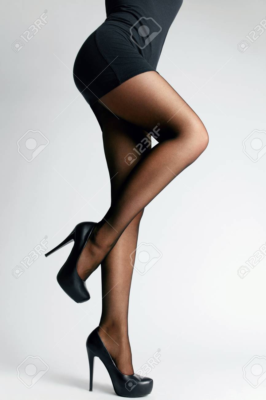 8824efb694f Black Tights. Sexy Long Female Legs With Stylish Pantyhose And Fashion High  Heeled Shoes.