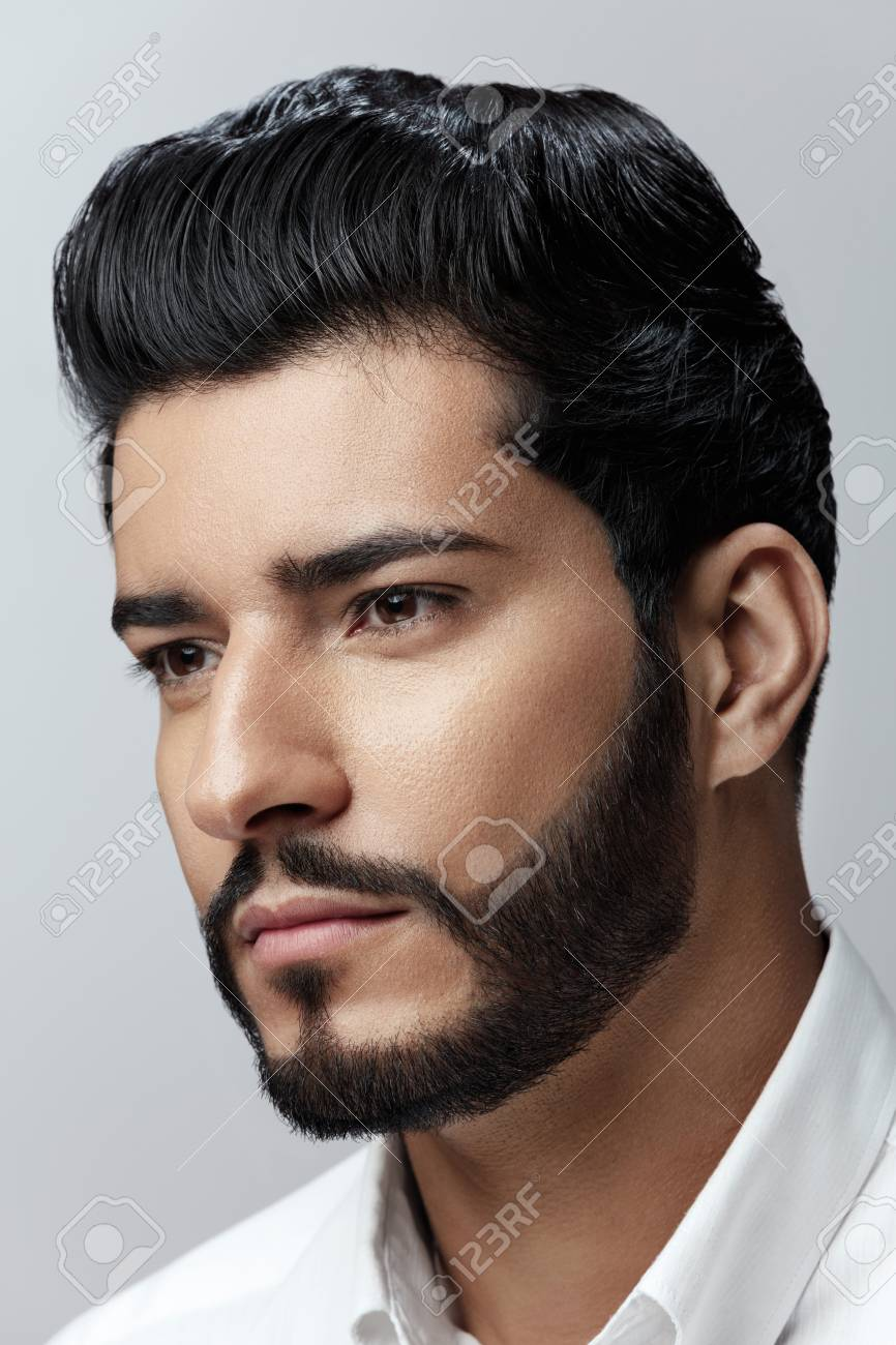 Admirable Handsome Man With Hair Style Beard And Beauty Face Portrait Stock Natural Hairstyles Runnerswayorg