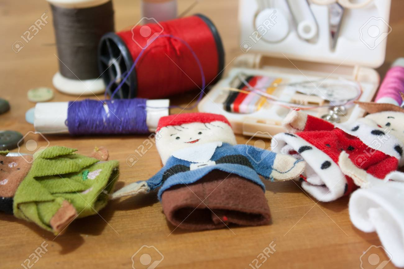 The Handmade Christmas Doll Finger For Christmas Gift On Wood ...