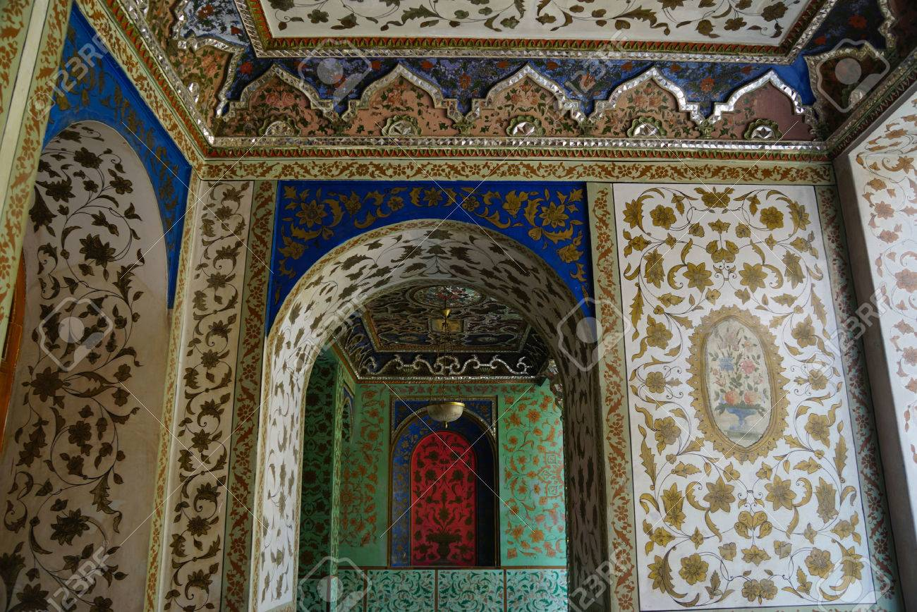 Stock Photo - Traditional Persian design of Golestan Palace with painted walls tiles and wooden doors Tehran Iran. The Golestan Palace belongs to royal ... & Traditional Persian Design Of Golestan Palace With Painted Walls ...