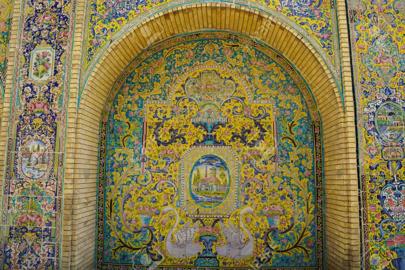 Beautiful Ceramic Tile Wall Of Golestan Palace,Tehran,Iran. Stock ...