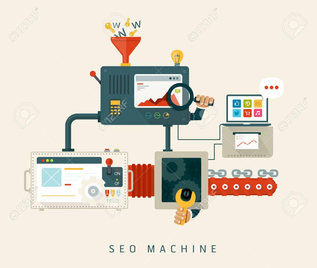 Website SEO machine, process of optimization  Flat style design Stock Vector - 26080178