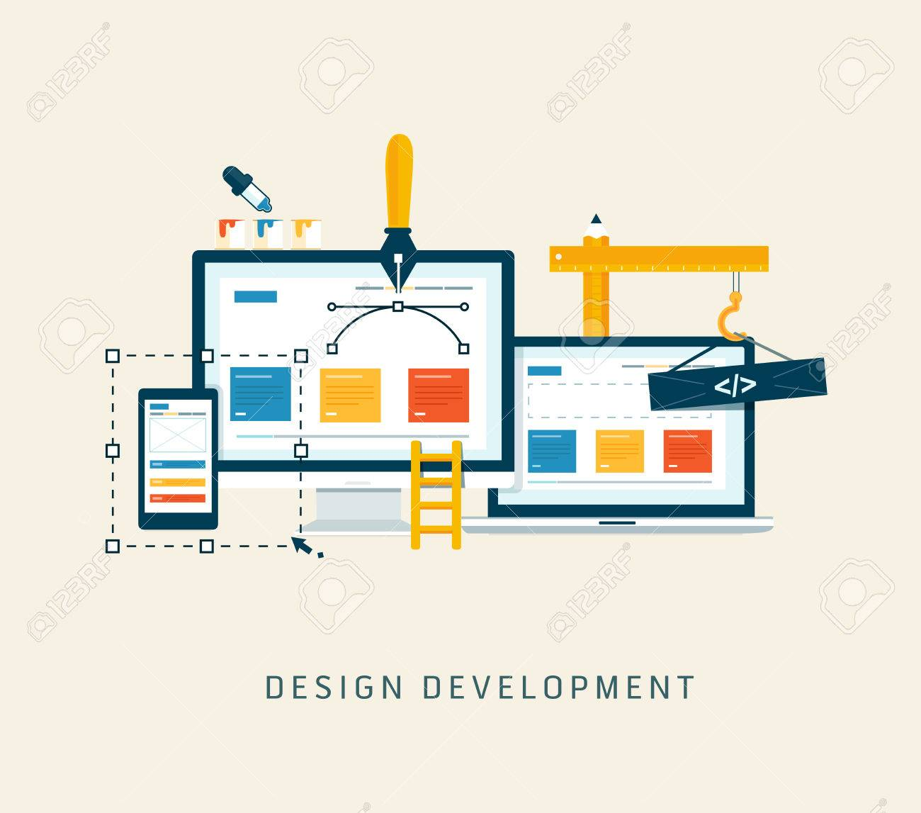 Designing a website or application  Flat style vector design Stock Vector - 26080209