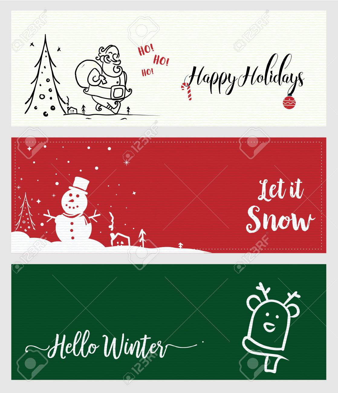 Set Of Christmas And New Year Social Media Banners. Vector ...