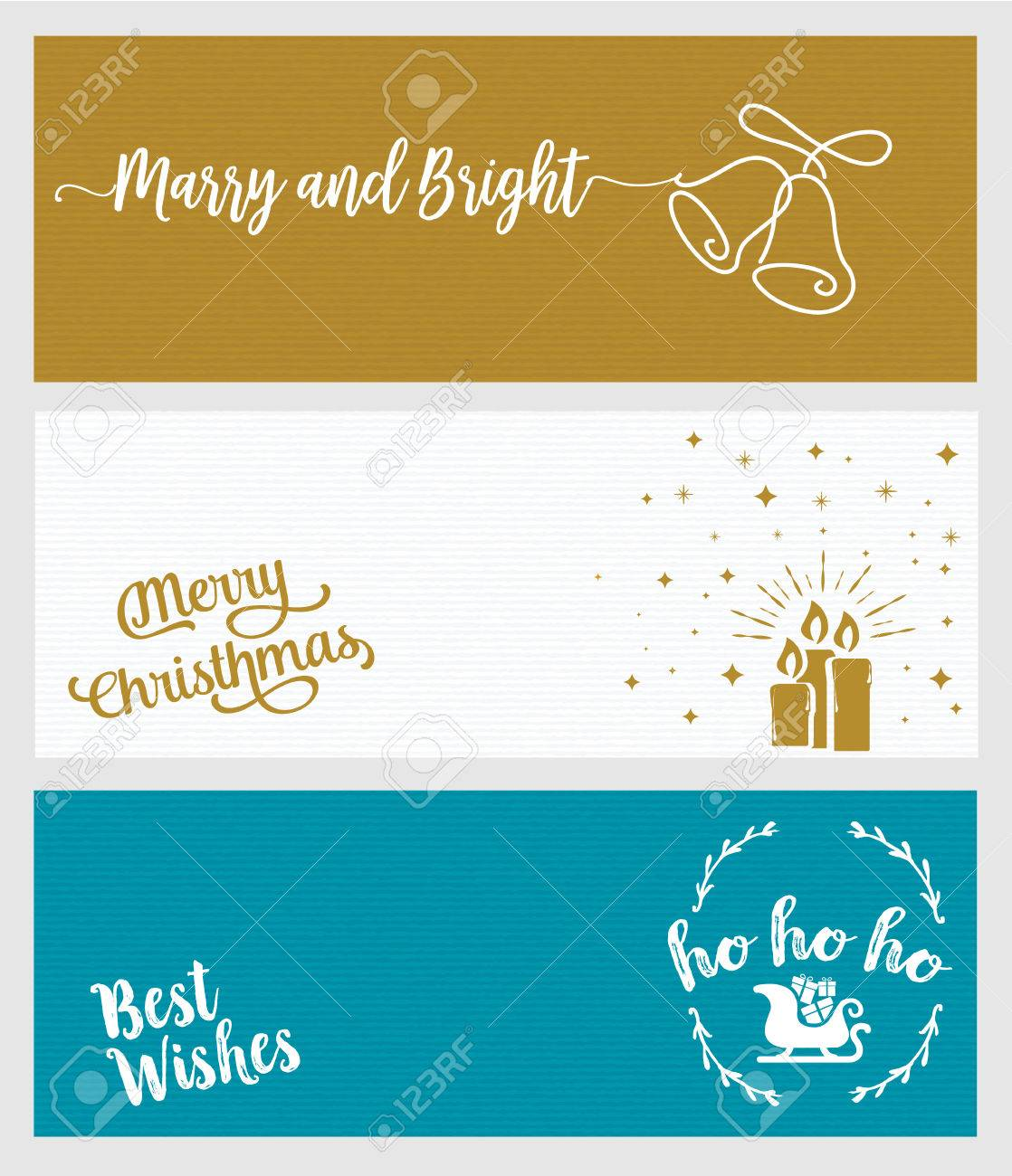 Set Of Christmas And New Year Social Media Banners. Hand Drawn ...