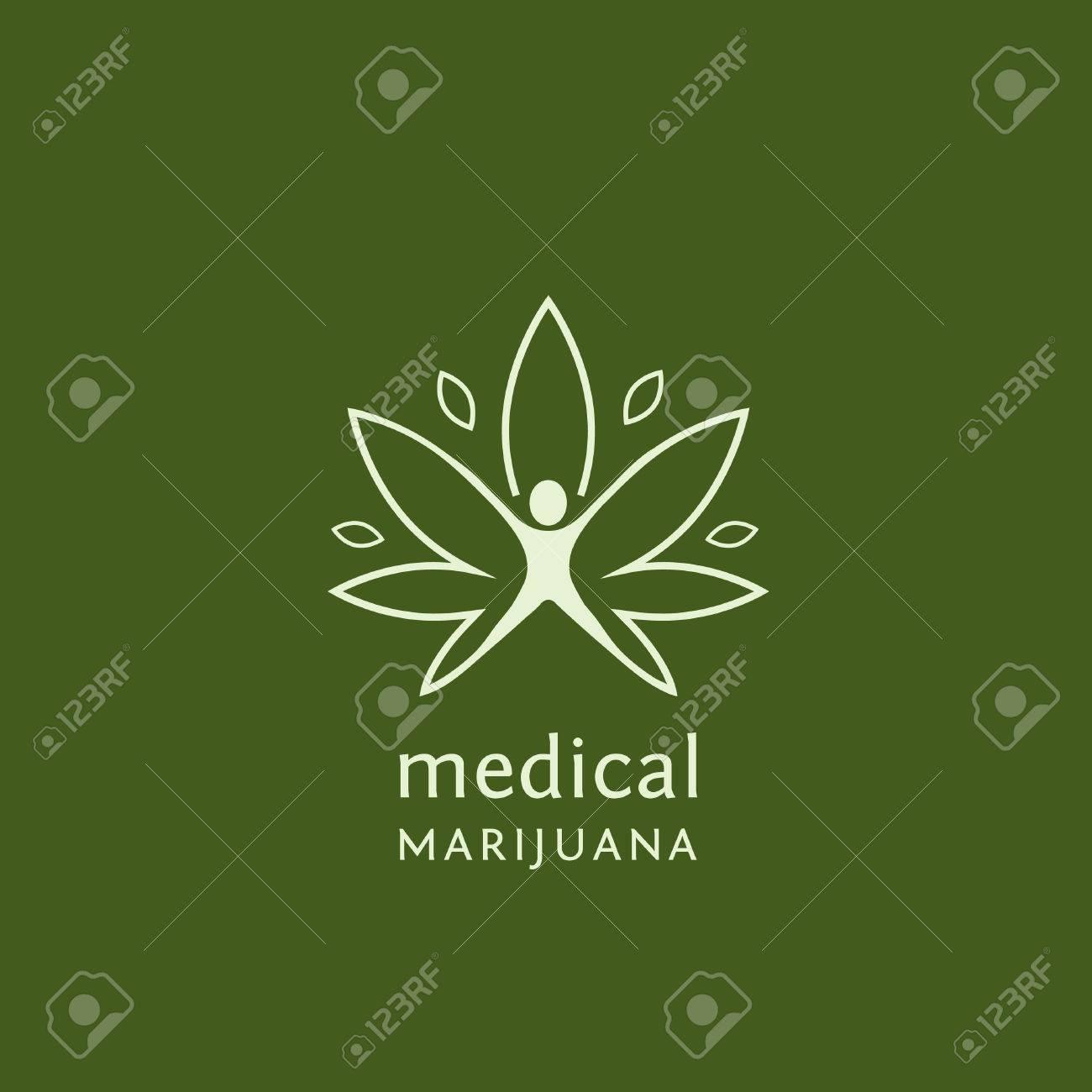 Flat outline design of medical marijuana. Vector illustration concept for web design, labels, logo design. - 68893464