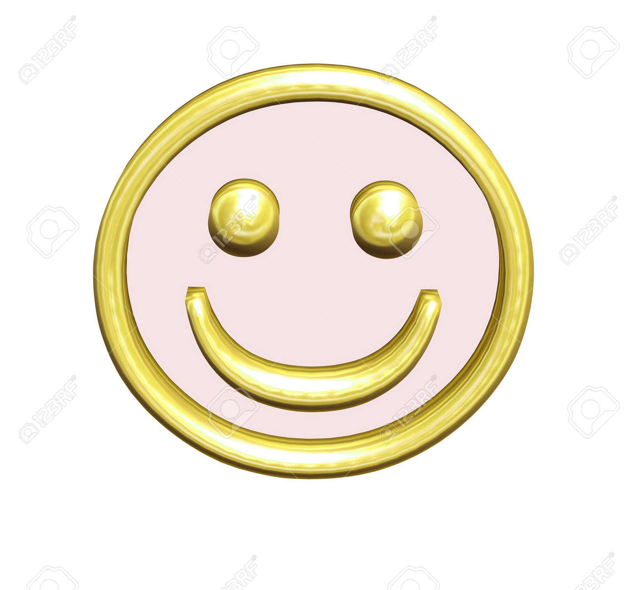Golden yellow smiley in 3D with blush Stock Photo - 2412828