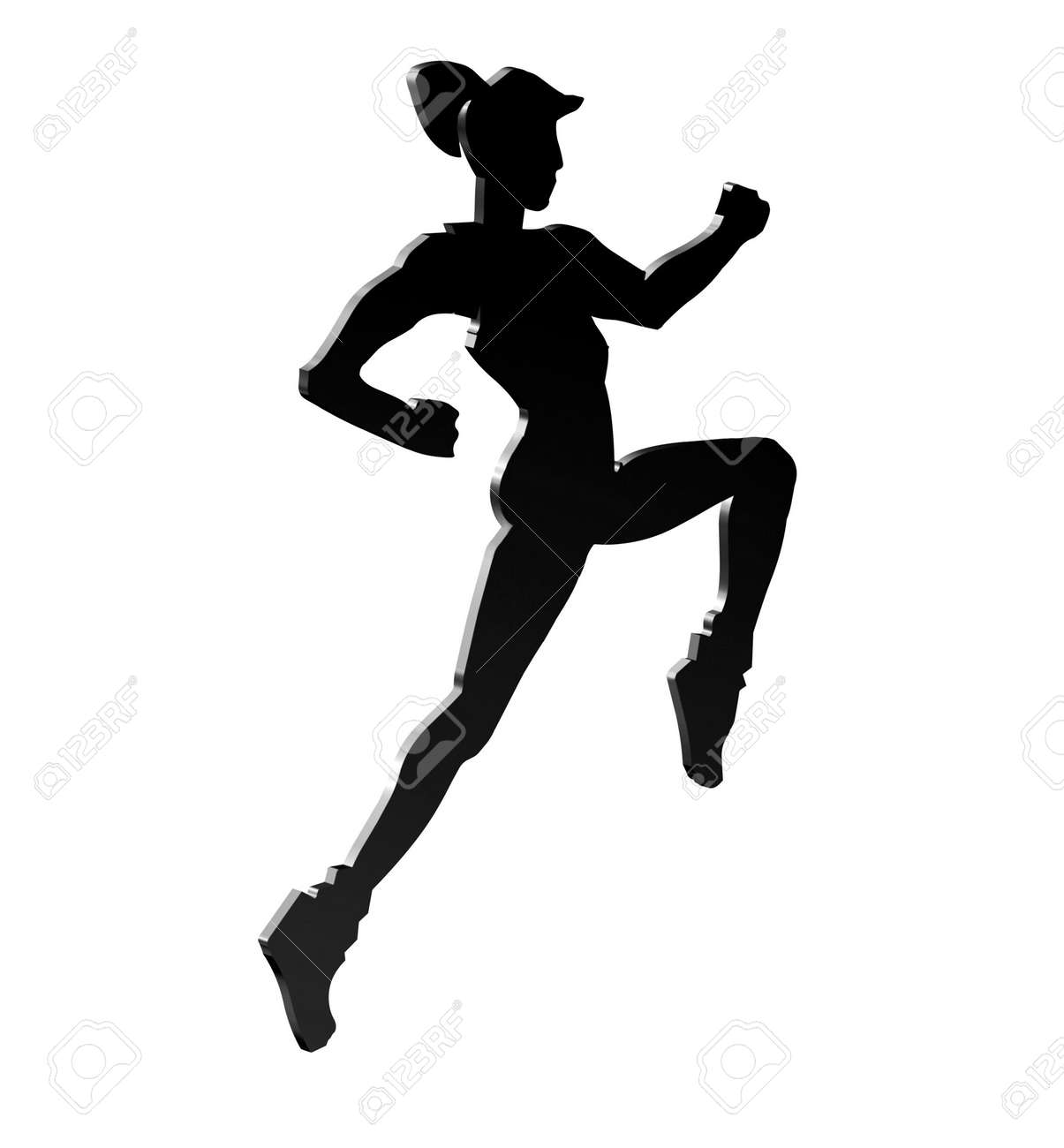 Silhouette of a female running to keep fit Stock Photo - 2496906
