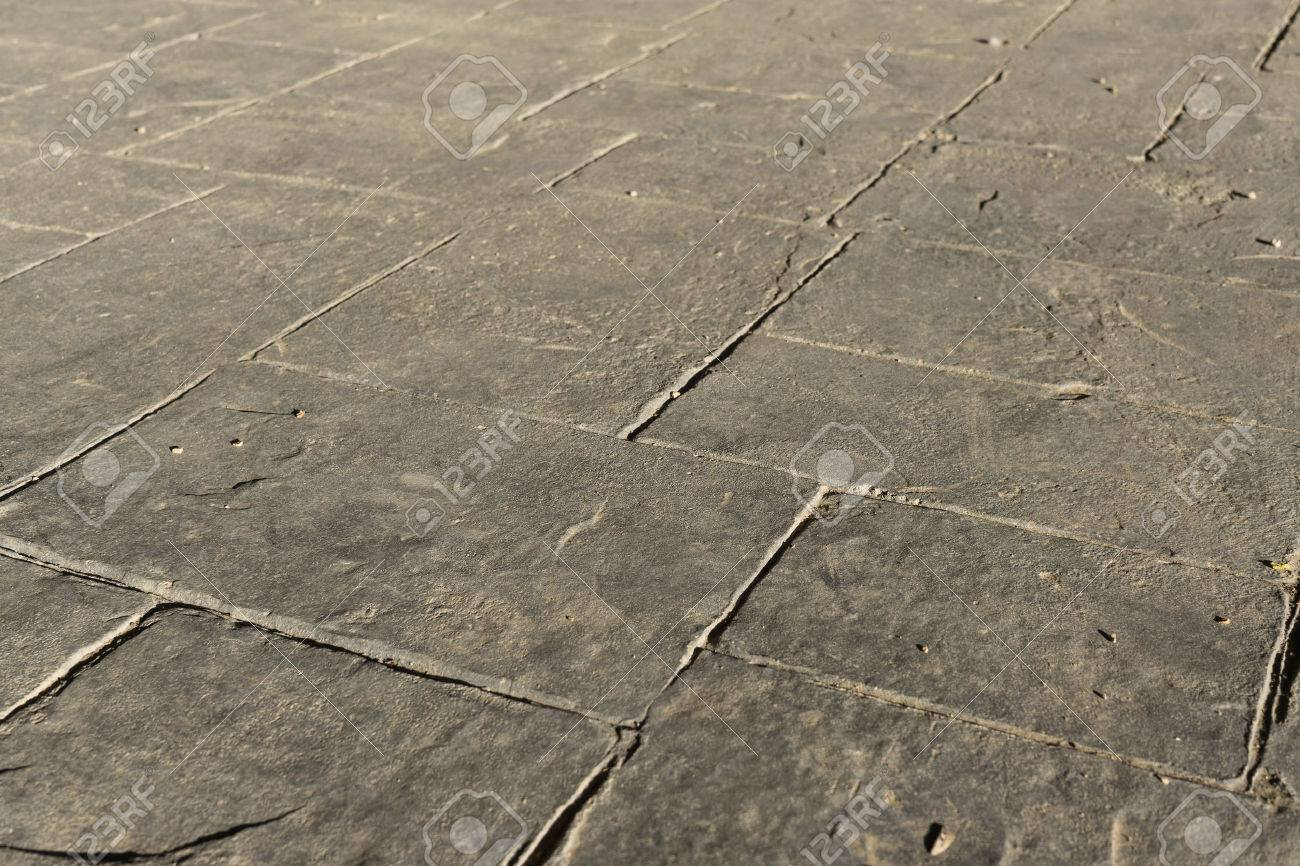 Gray Stamped Concrete Slate Seamless Texture Pattern, Pavement Outdoor,  Decorative Appearance Colors And Textures