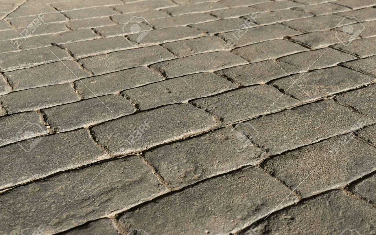 Estampado De Hormigón Del Pavimento Exterior, Imita Adoquines Patrón ...