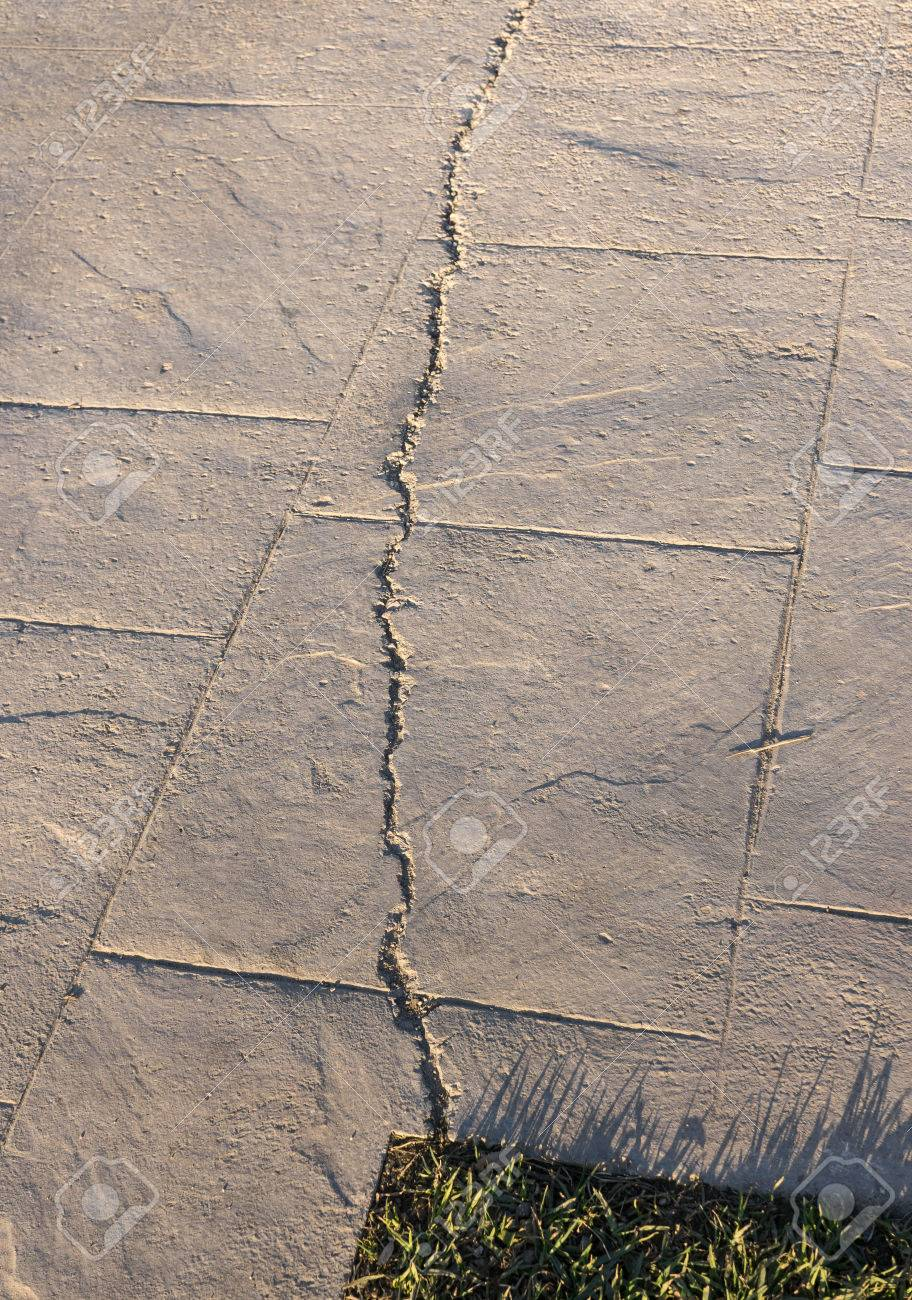 Charming Fissured Surfaces Of Stamped Concrete Pavement Outdoor, Appearance Colors  And Textures Of Paving Slate Stone