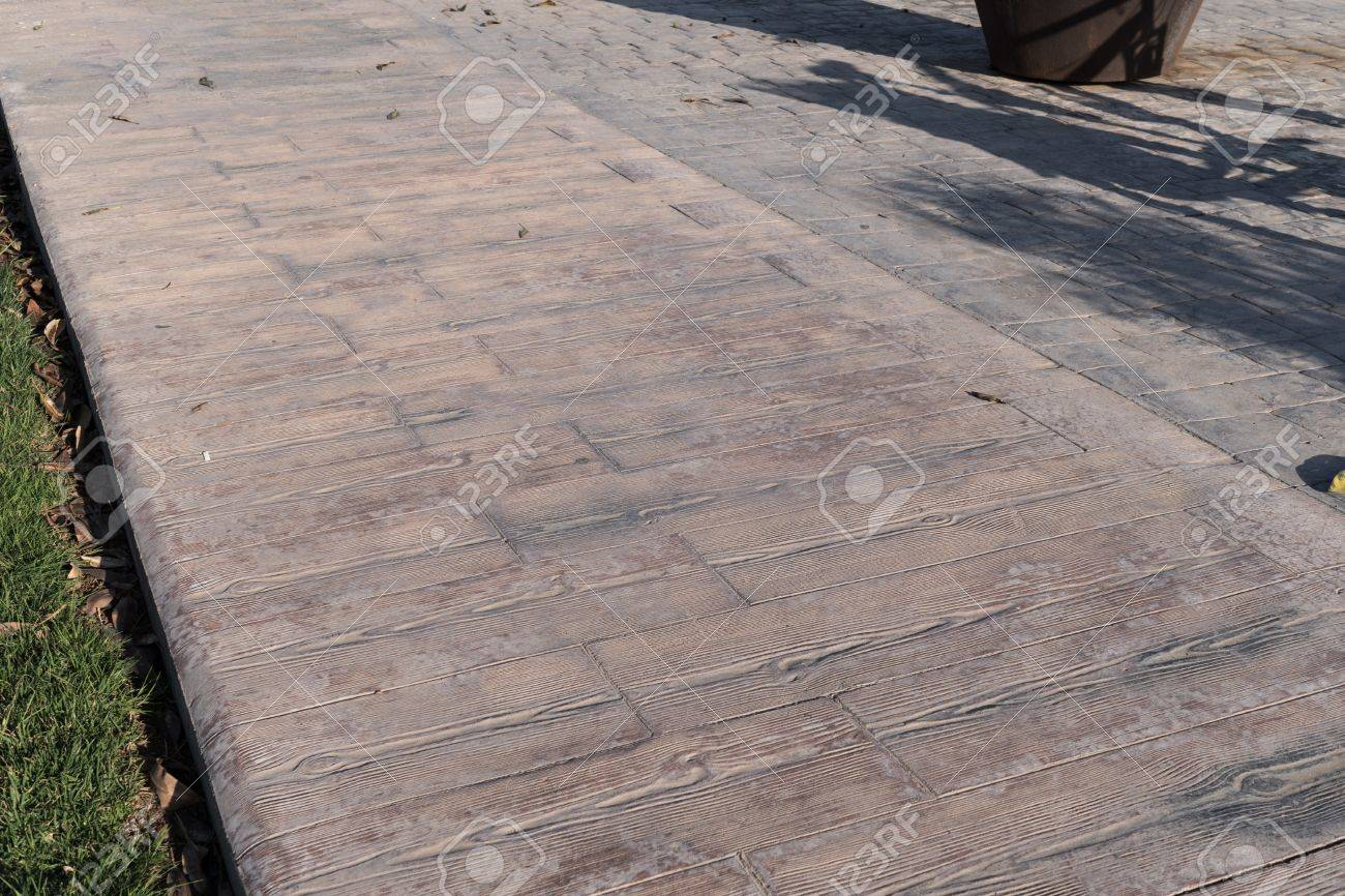 Stamped Concrete Pavement Outdoor, Wooden Slats Pattern, Cement Flooring Exterior  Decorative Texture Of Cement