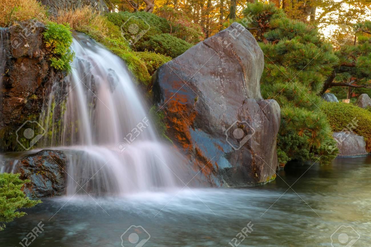 Close up beautiful waterfall in autumn at japan . - 120248266