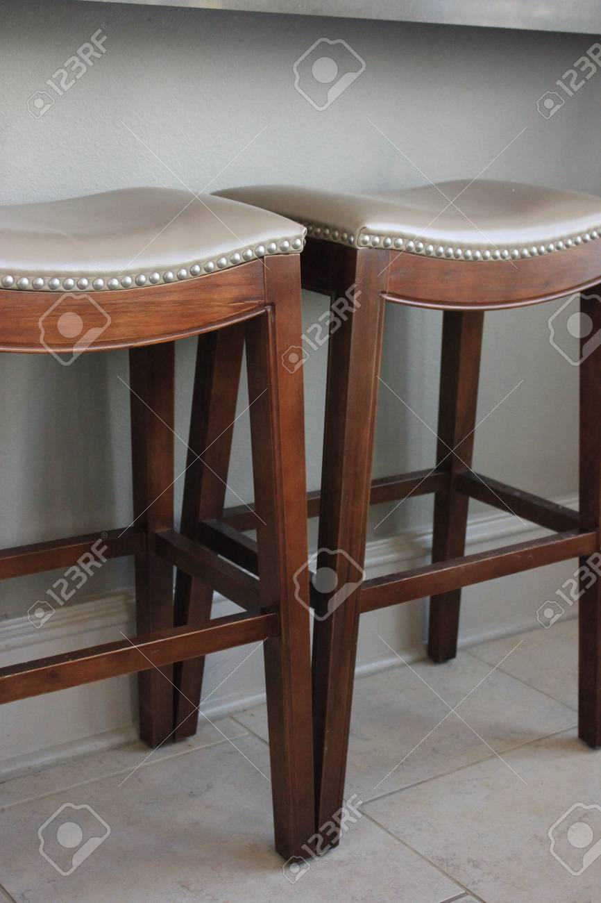 Picture of: Two Contemporary Wooden Bar Stools Stock Photo Picture And Royalty Free Image Image 26824983