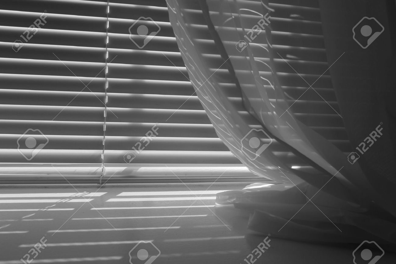 Black And White Mini Blinds With Window Sheers Stock Photo Picture And Royalty Free Image Image 44163502