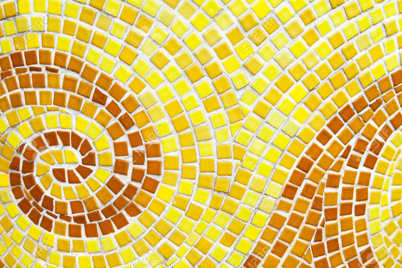 Yellow Swirl Pattern Tiled Bathroom Wall. Mini Square Orange.. Stock ...