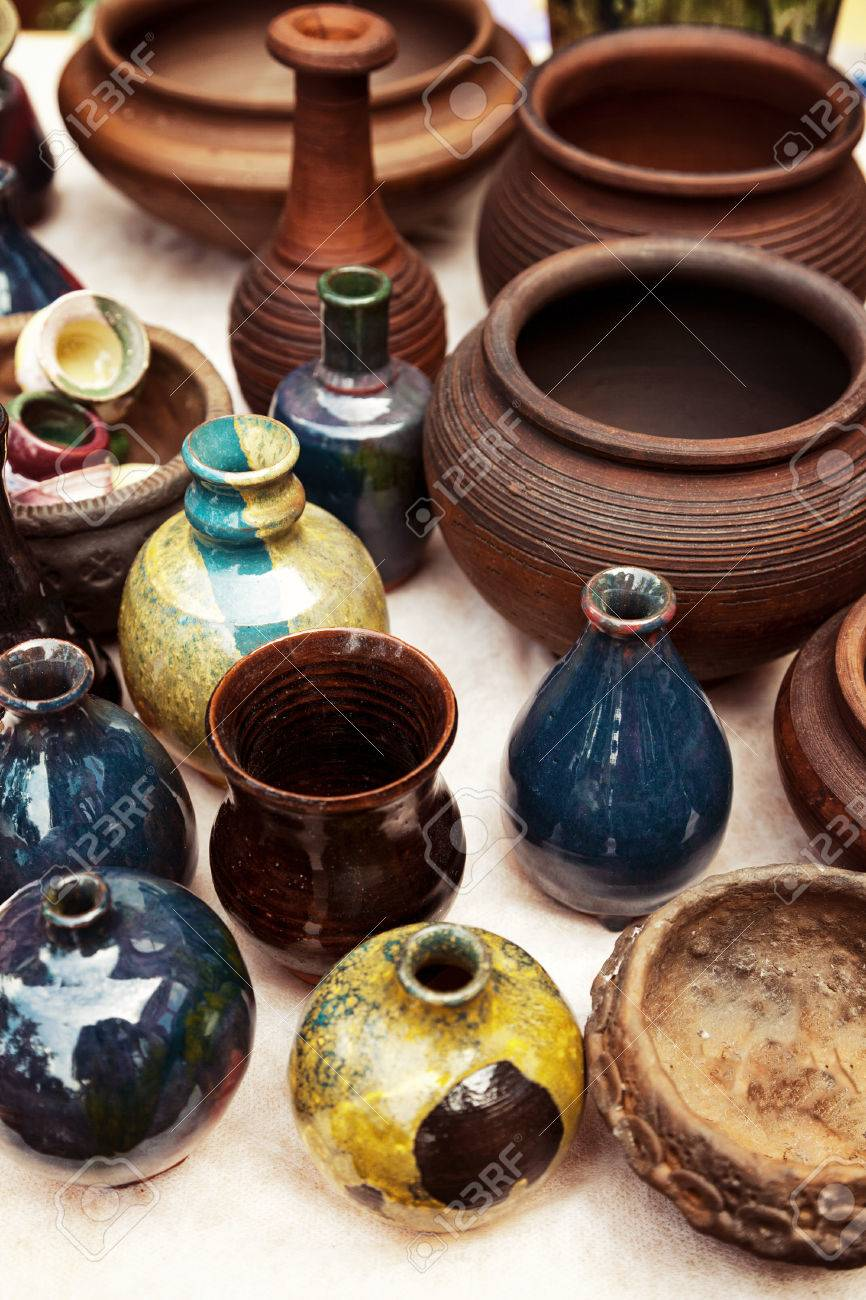 Lots of handmade earthenware ceramic pots and vases at pottery lots of handmade earthenware ceramic pots and vases at pottery shop colorful clayware background reviewsmspy