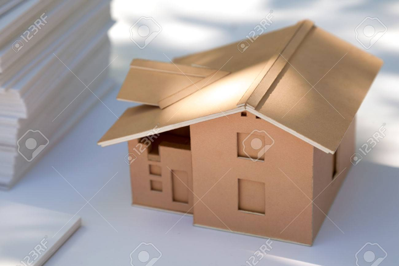 Small Cardboard House Model On White New Home Design For Sale