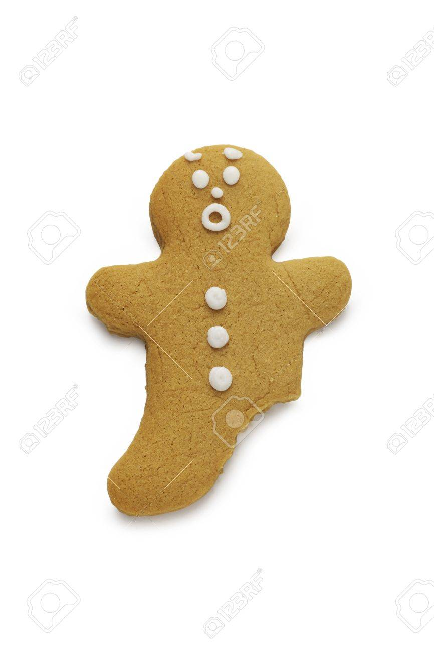 A surprised looking gingerbread man with a leg missing - 15320938
