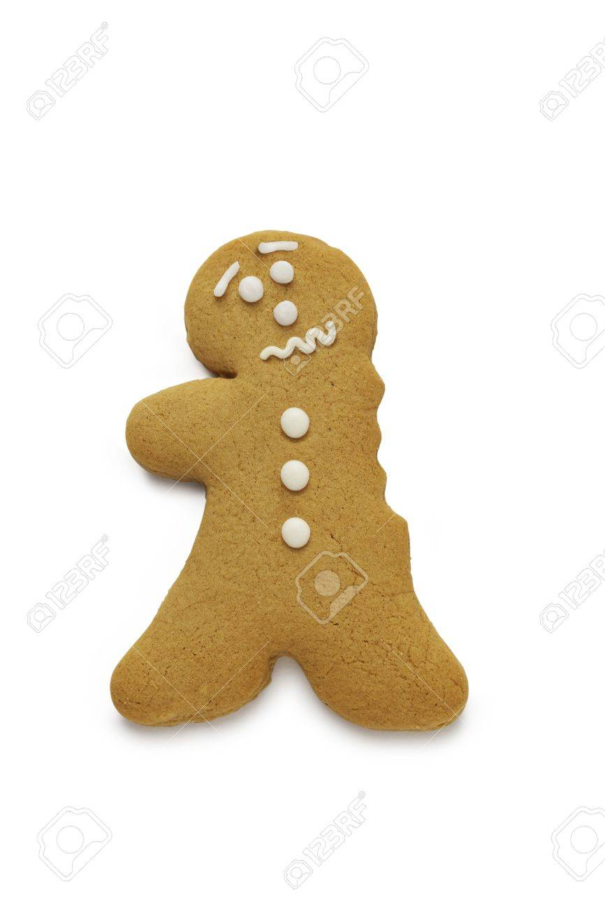 A concerned looking gingerbread man having just lost an arm - 15320942