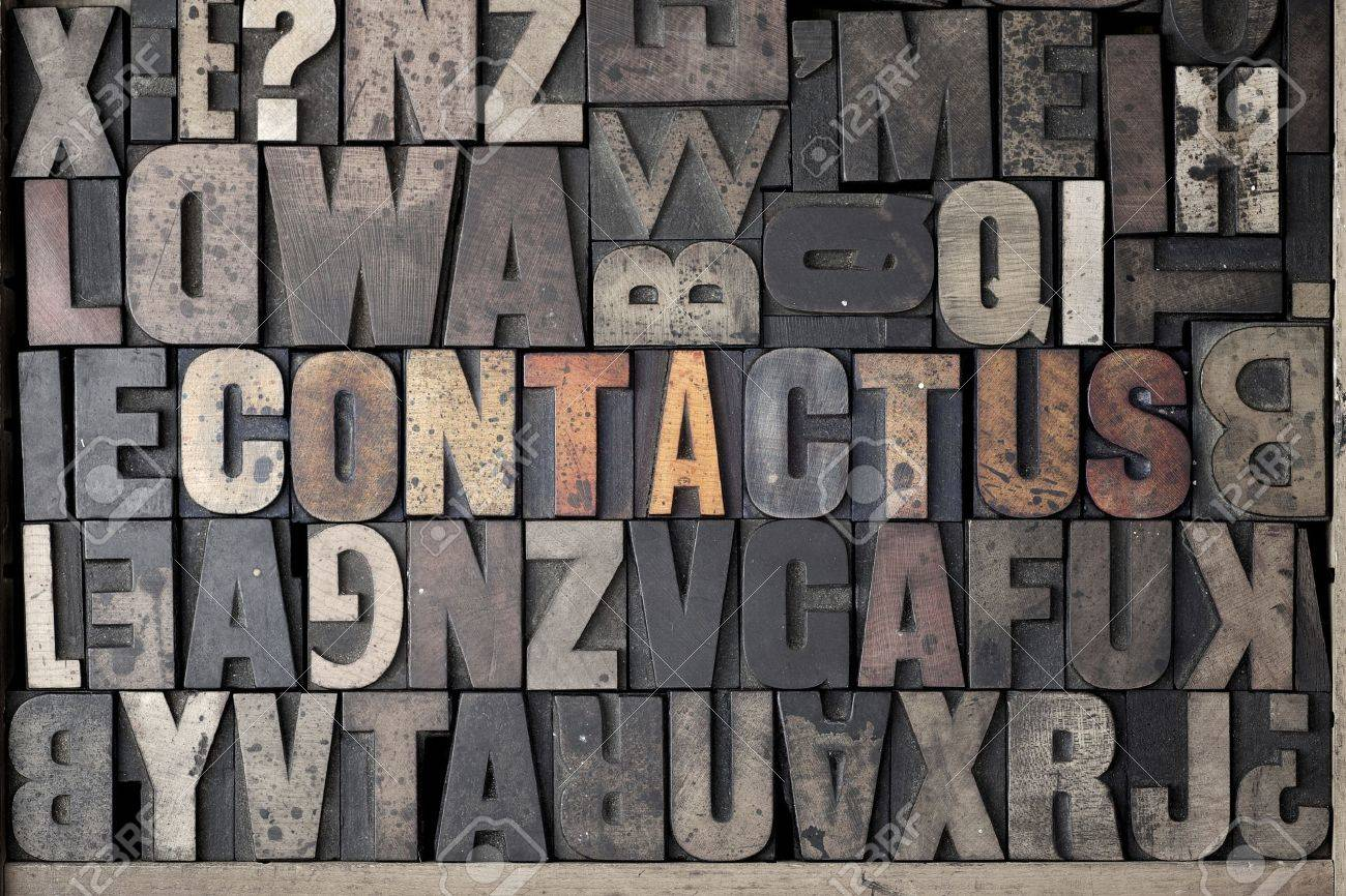 The words Contact Us written out in very old and worn letterpress type - 15580124