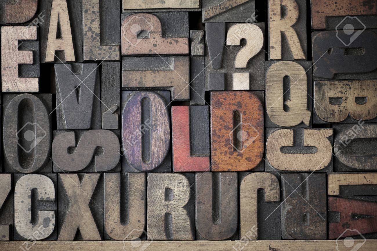 The word Old written out in very old and worn letterpress type Stock Photo - 15580108