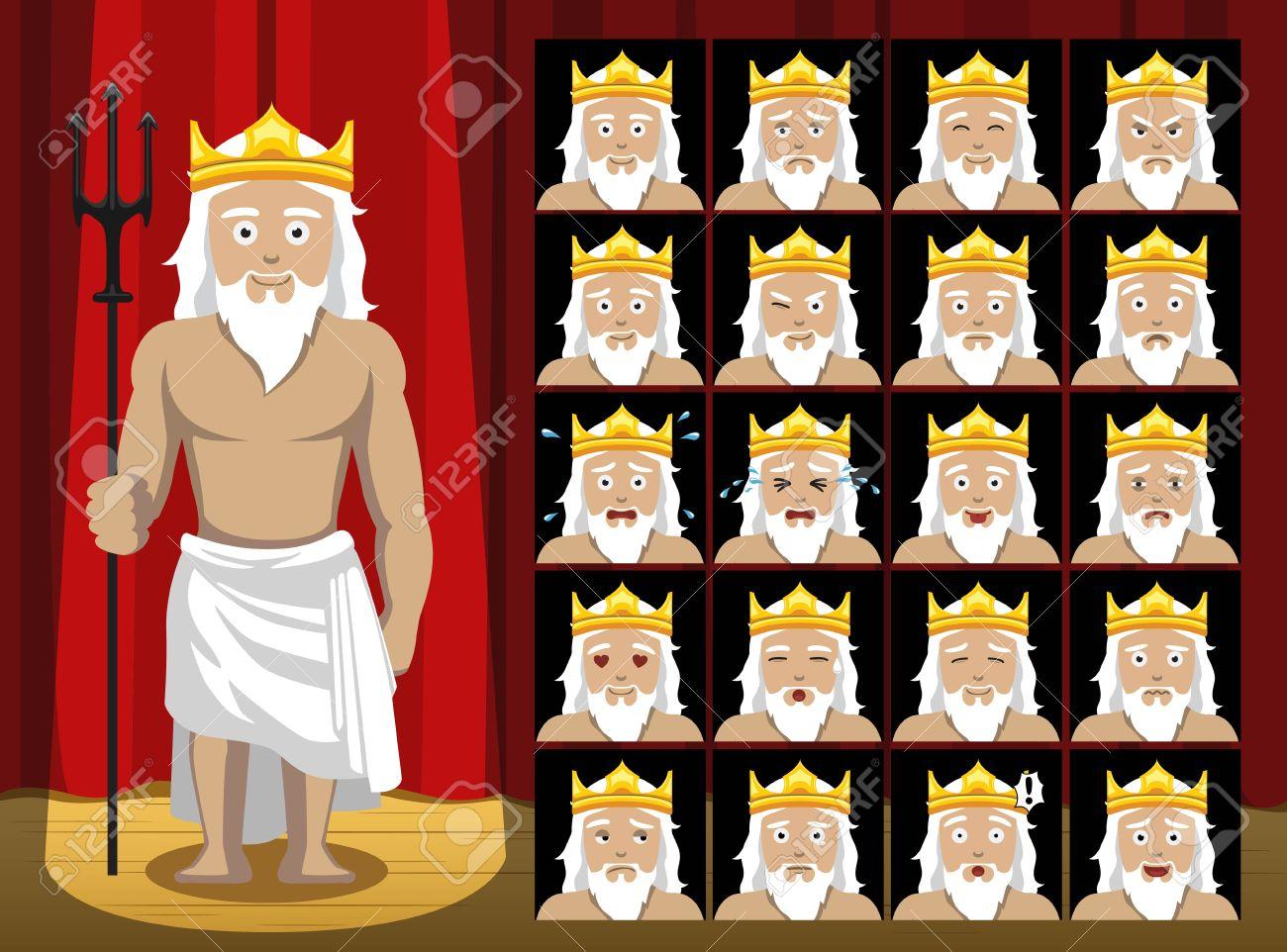 greek gods poseidon costume cartoon emotion faces vector