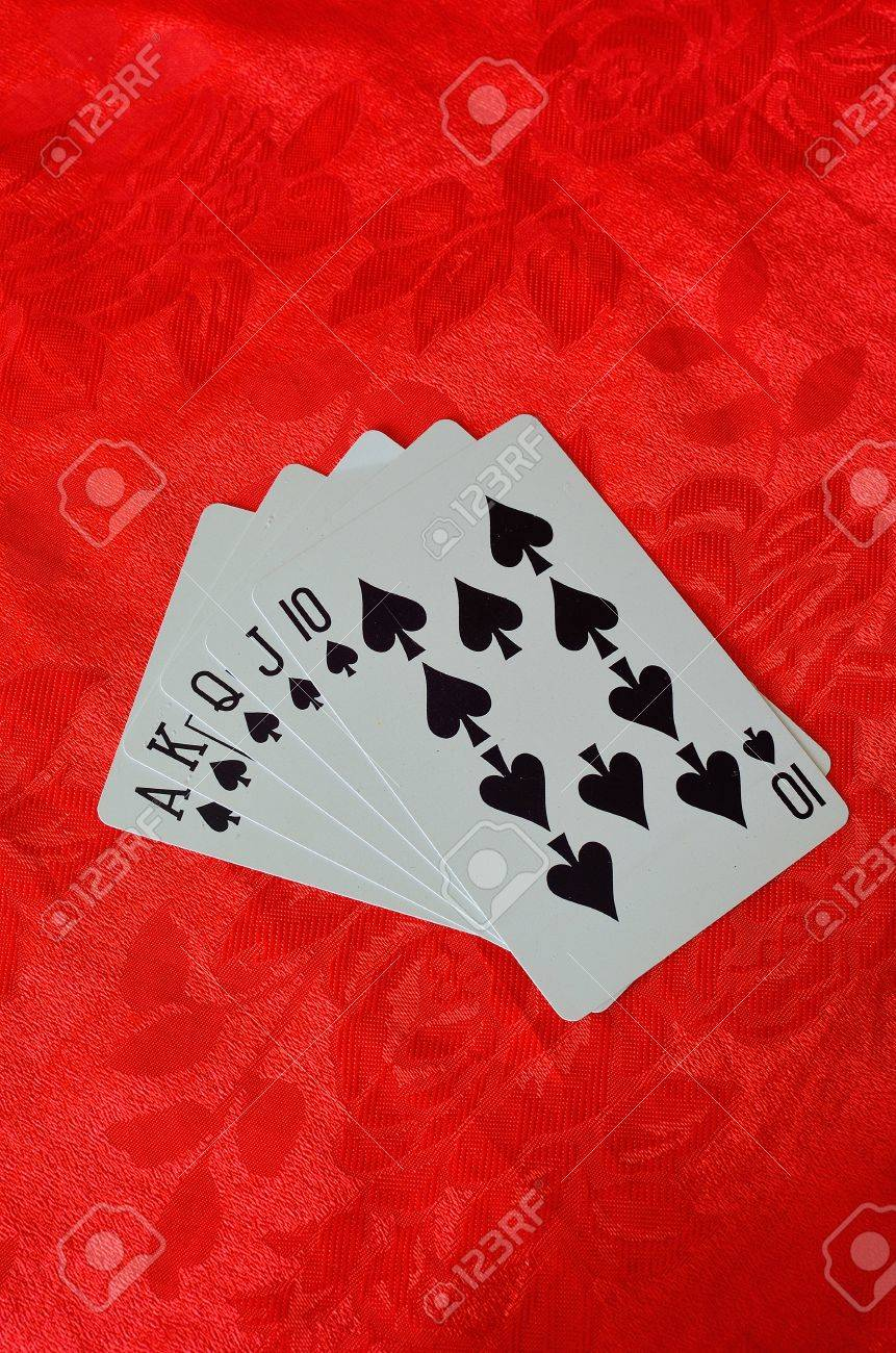 Poker table background - Stock Photo Cards On Red Felt Poker Table Background