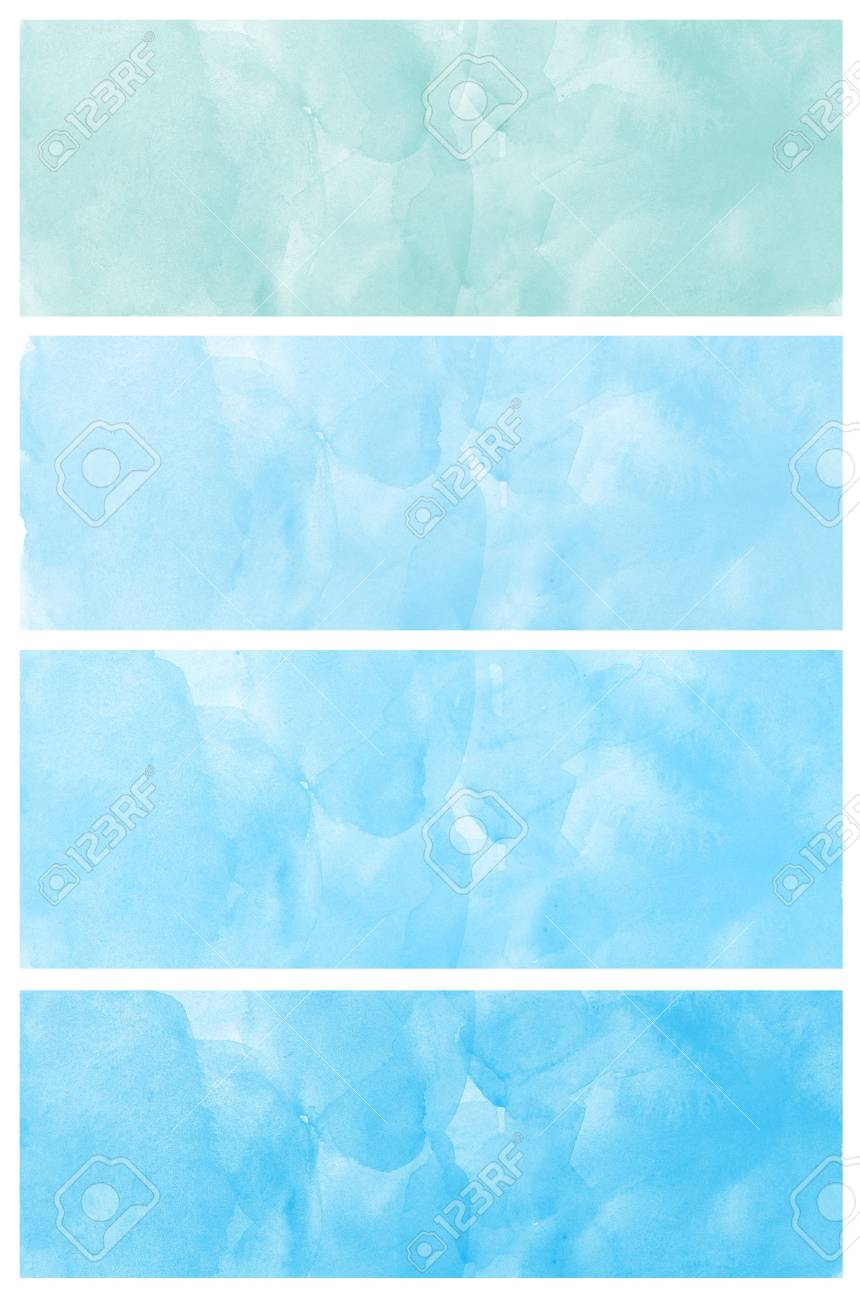 Set of abstract blue watercolor hand painted Stock Photo - 14728317