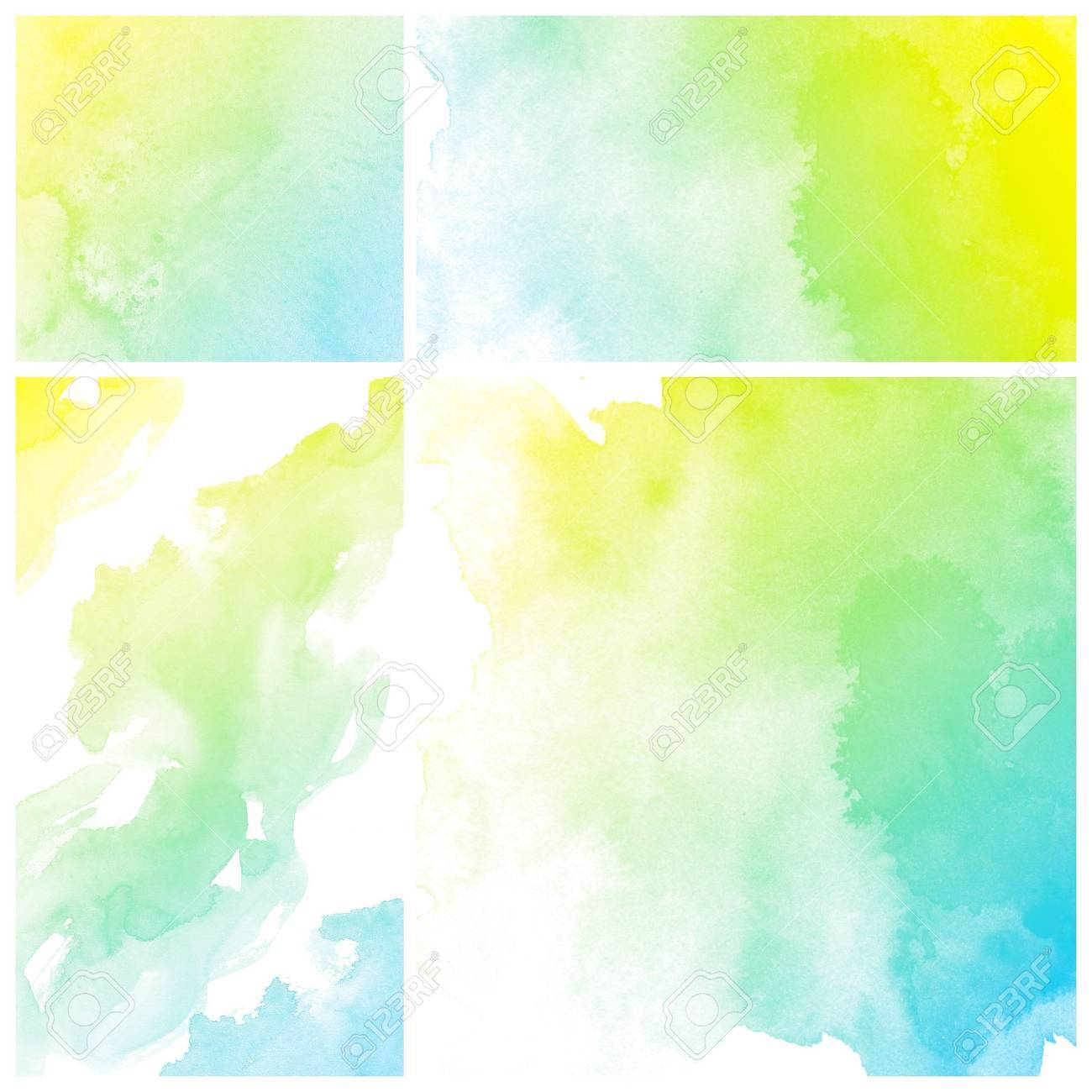 Set Of Colorful Abstract Art Water Colour Hand Paint Background ...