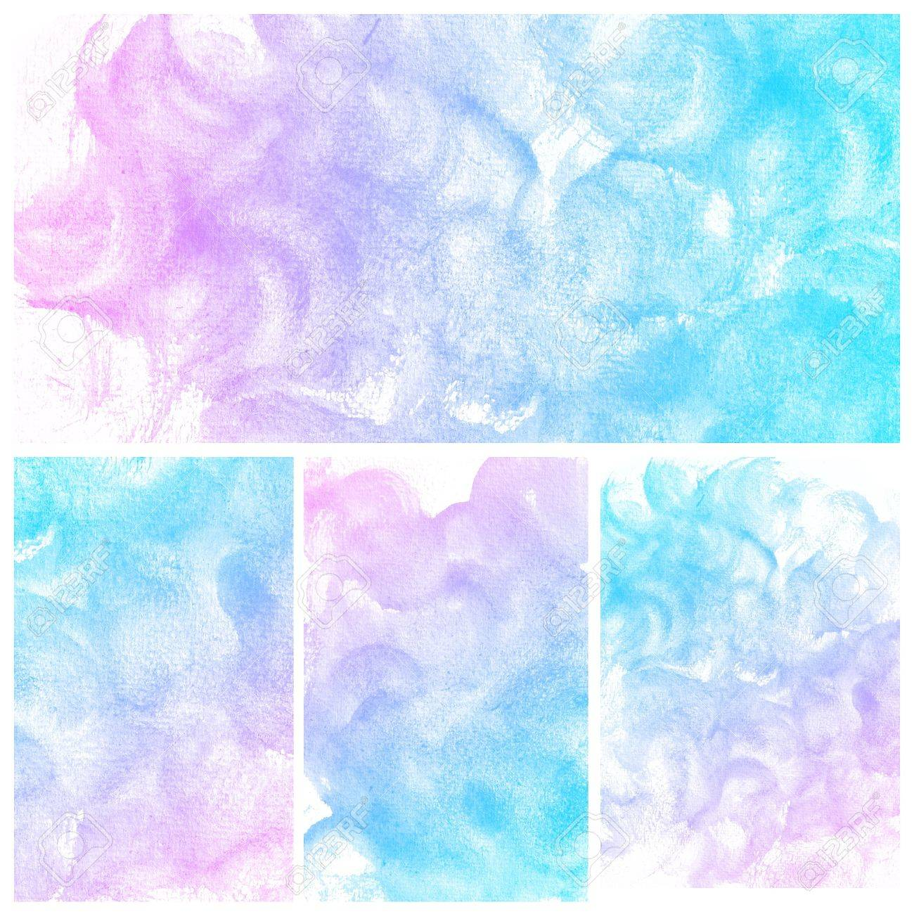 Set of colorful Abstract water color art hand paint background Stock Photo - 17516119