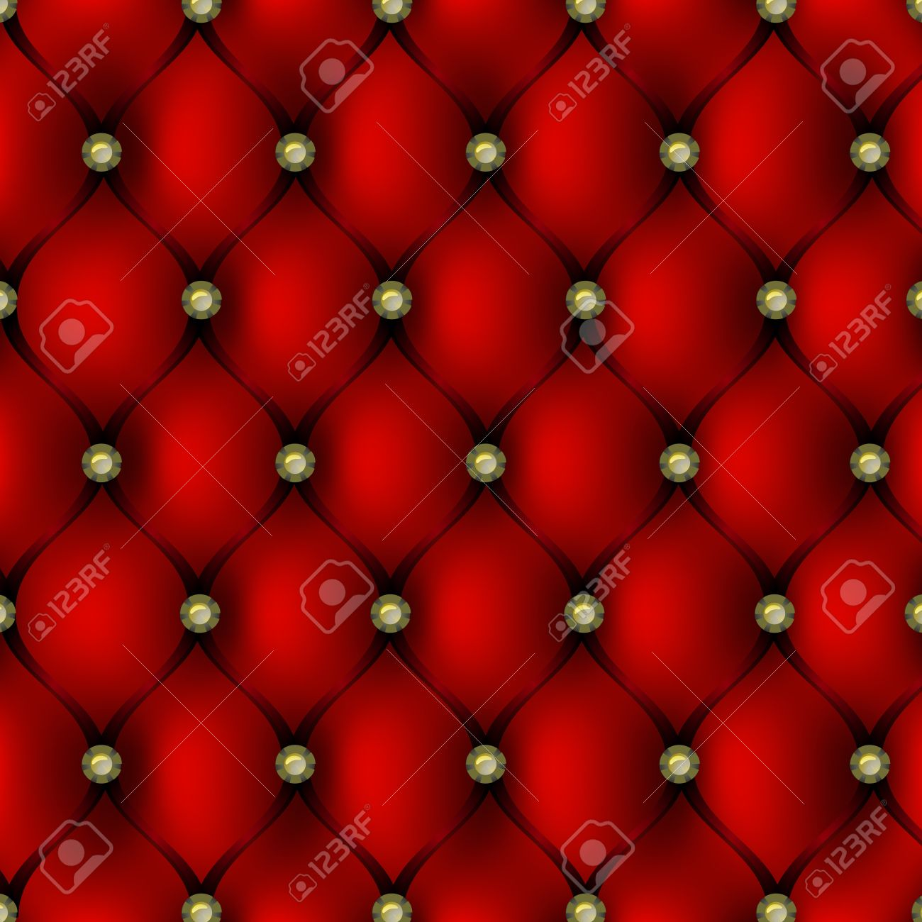 Red leather upholstery with gold button pattern background, vector illustration Stock Vector - 17581083