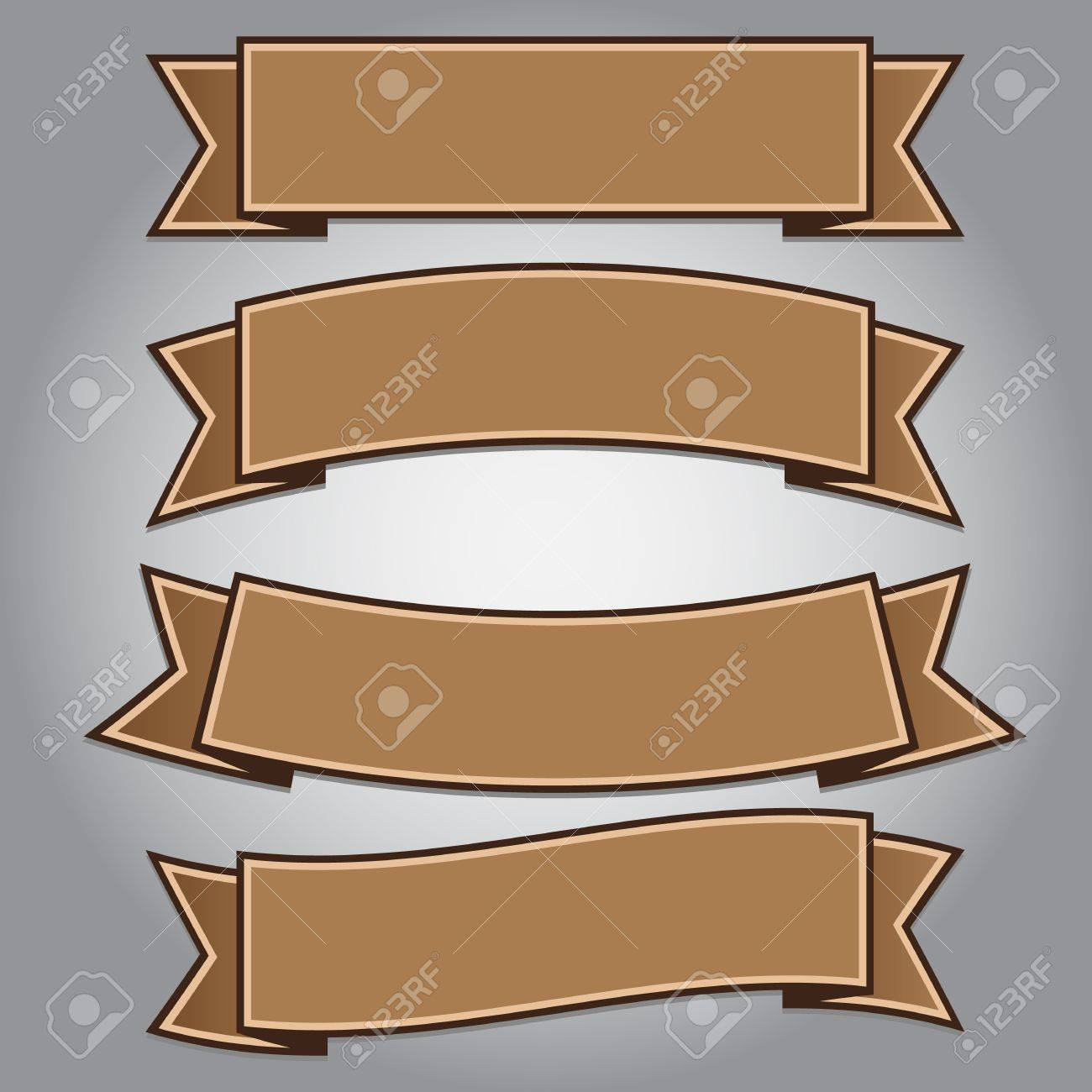 Vintage brown ribbon banners isolated,vector illustration Stock Vector - 17581088