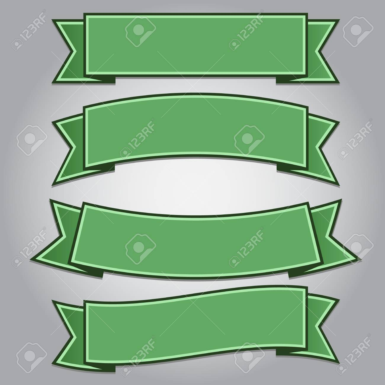 Set of green ribbon banners isolated,vector illustration Stock Vector - 17581090