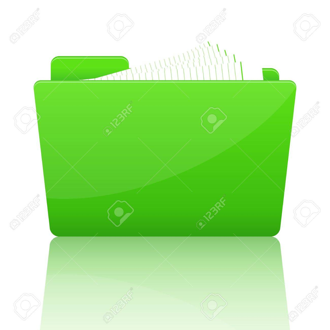 Green file folder with paper, vector illustration Stock Vector - 18989990