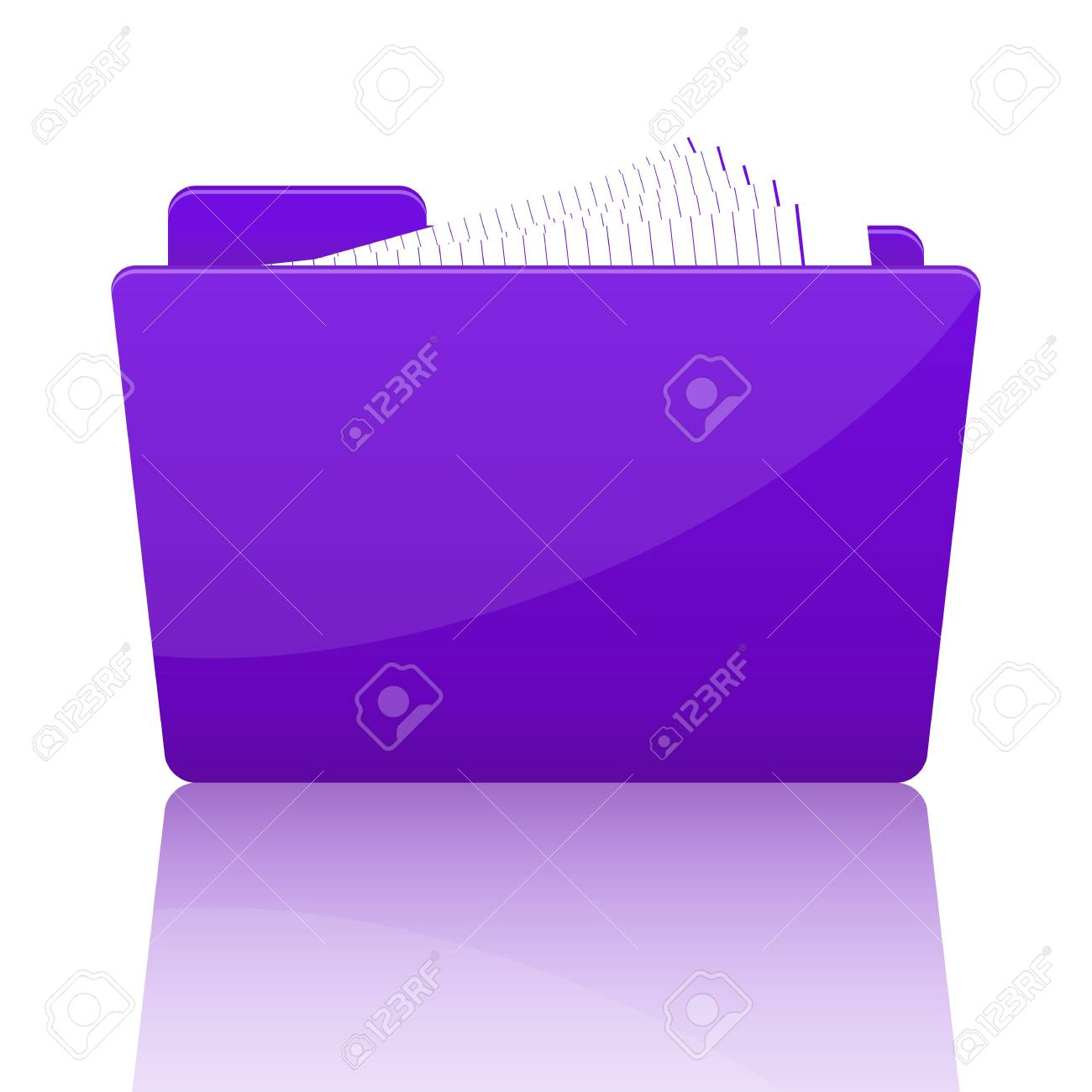 Purple file folder with paper, vector illustration Stock Vector - 18989994