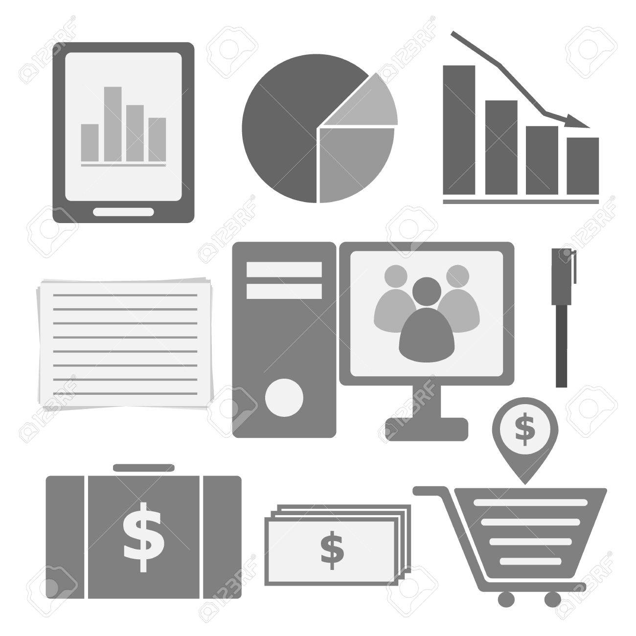 Set of internet investor at home icons, stock vector Stock Vector - 21984886