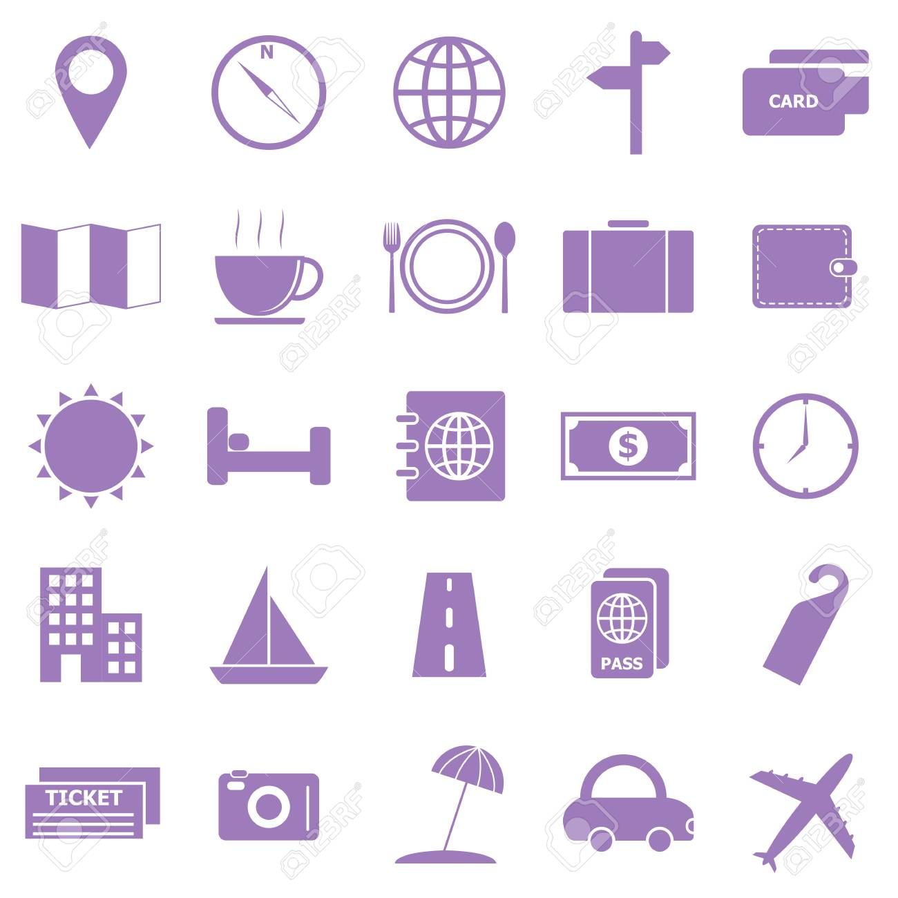 Travel color icons on white background Stock Vector - 22508866
