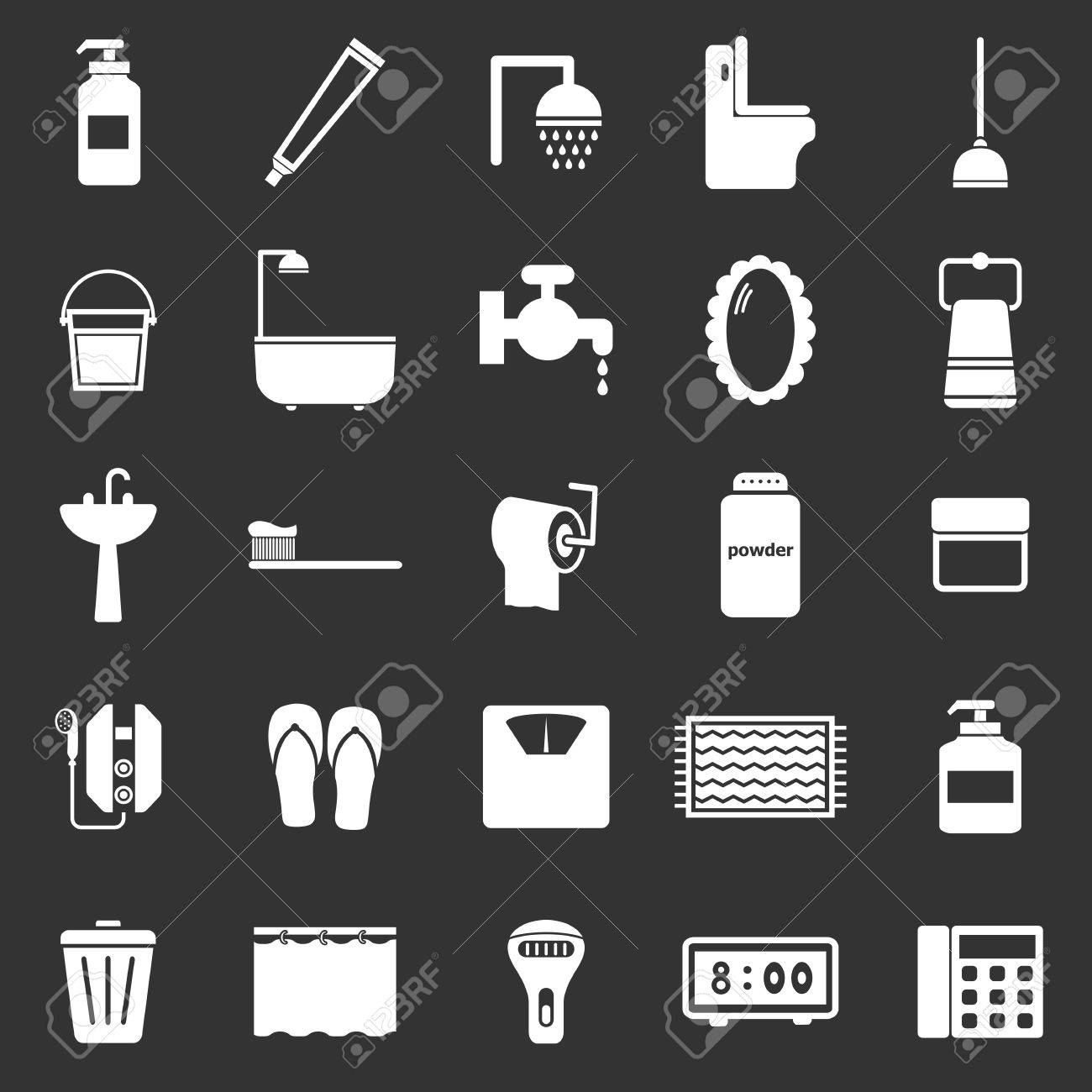 Bathroom icons on black background, stock vector Stock Vector - 22964187