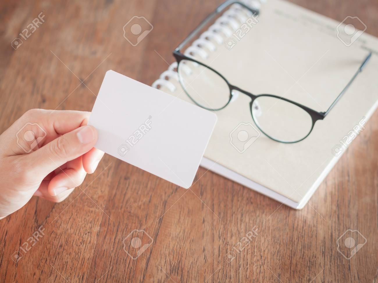 Woman Hold Blank Business Cards, Stock Photo Stock Photo, Picture ...