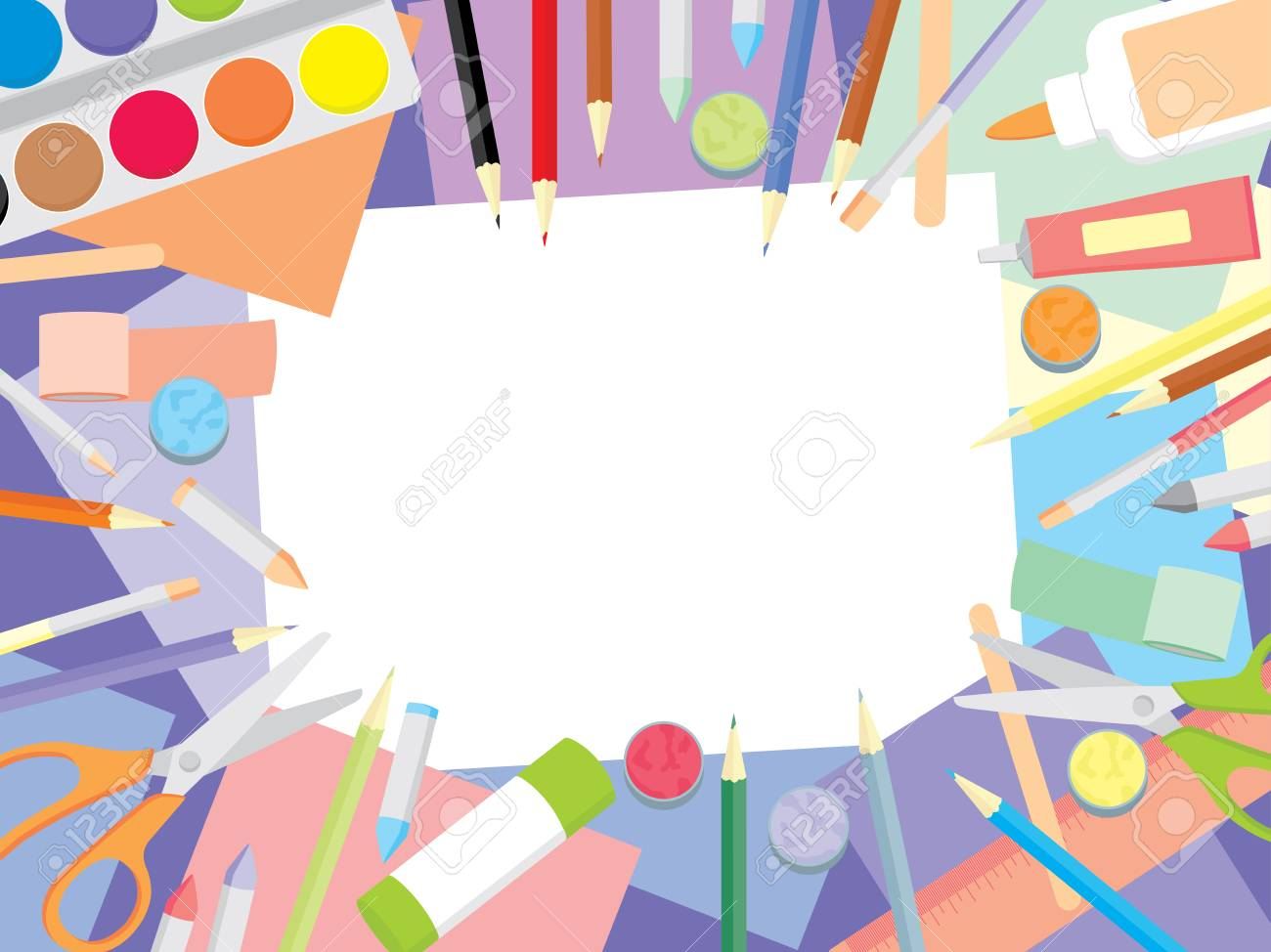 Kids craft supplies background - education and enjoyment concept