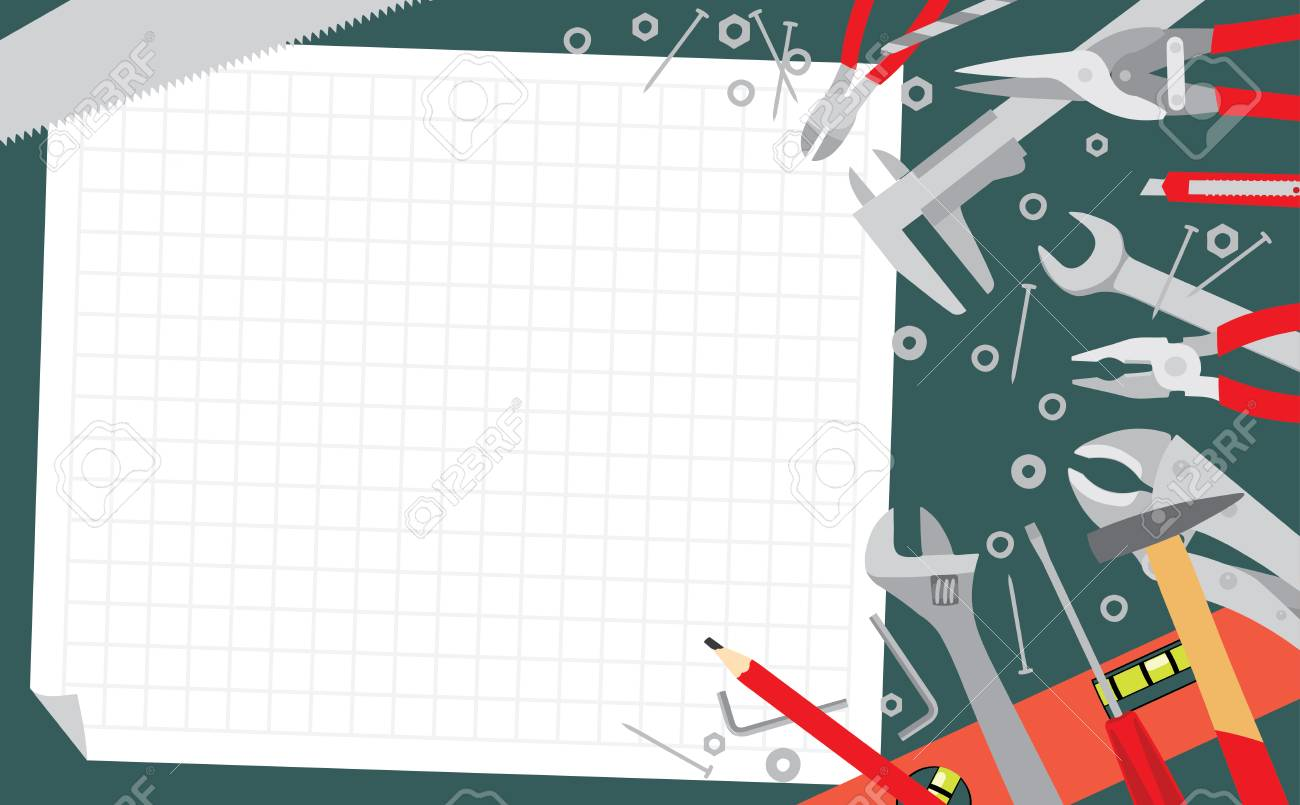 Working tools on green table background working plan banner vector working tools on green table background working plan banner do it yourself project vector illustration solutioingenieria Gallery
