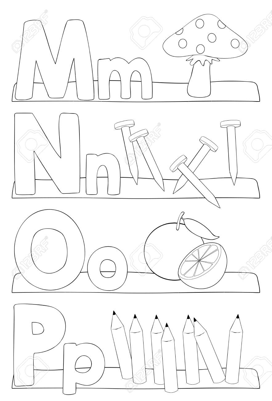 Alphabet Education Coloring Page For Kids Learning Letters M N
