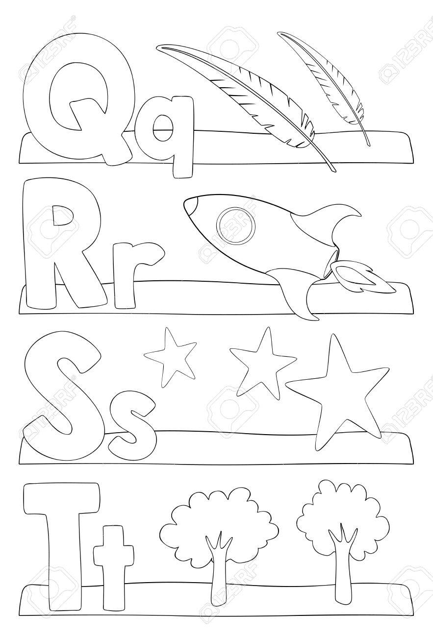 alphabet education coloring page for kids learning alphabet