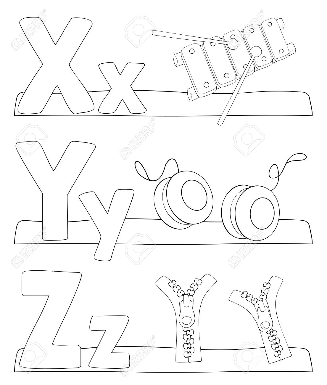 Alphabet Bildung Malvorlagen Für Kinder. Alphabet Buchstaben Lernen ...