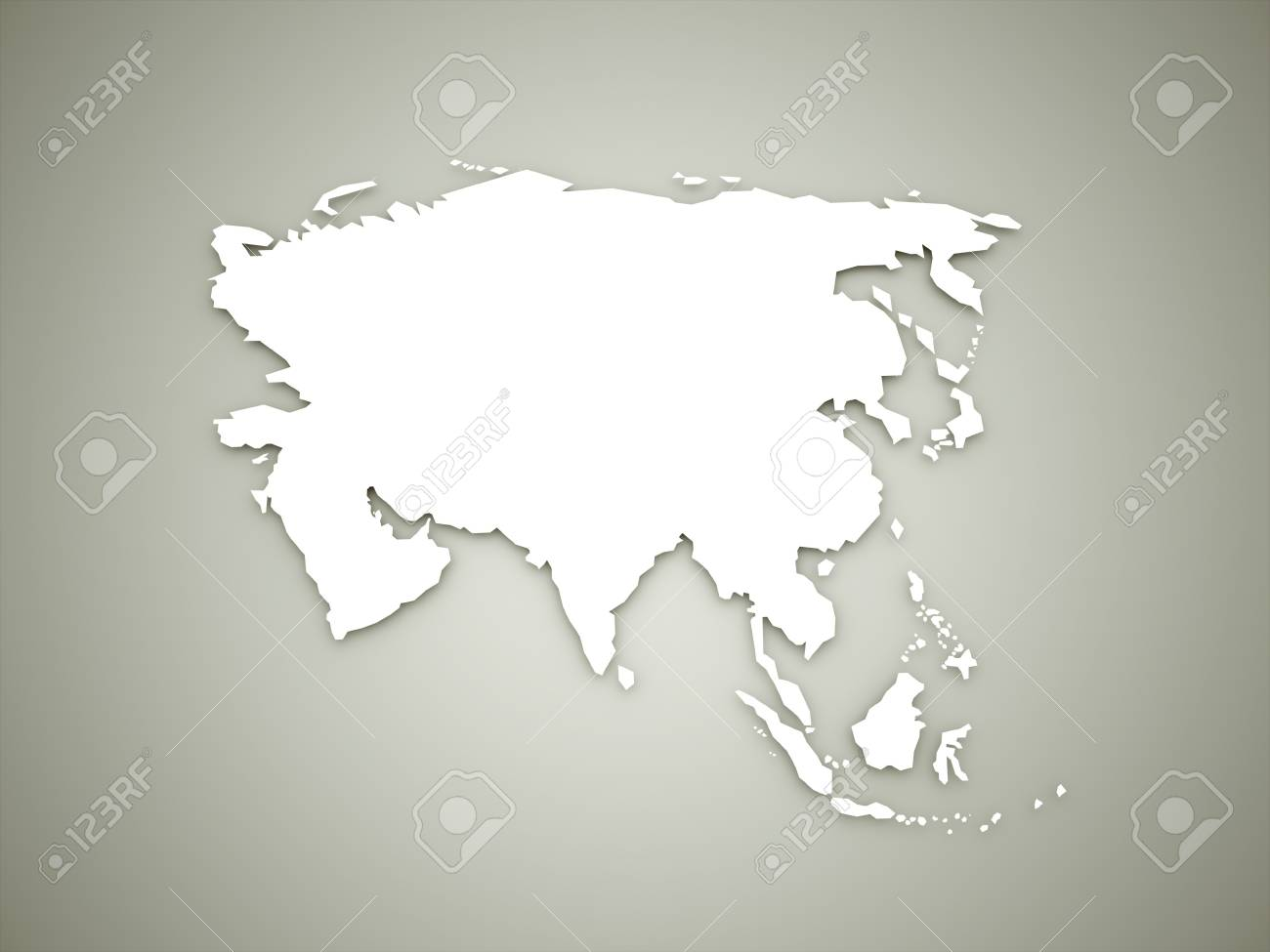 Asia Geografic Continental Map On Dark Background Stock Photo