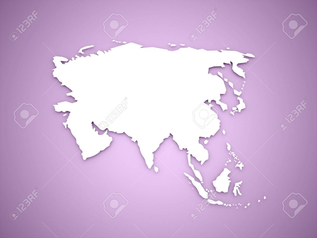 Asia Map Continent Concept On Purple Background Stock Photo, Picture ...