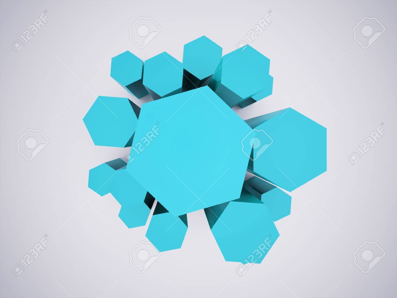 Blue hexagonal icon concept rendered Stock Photo - 25708667