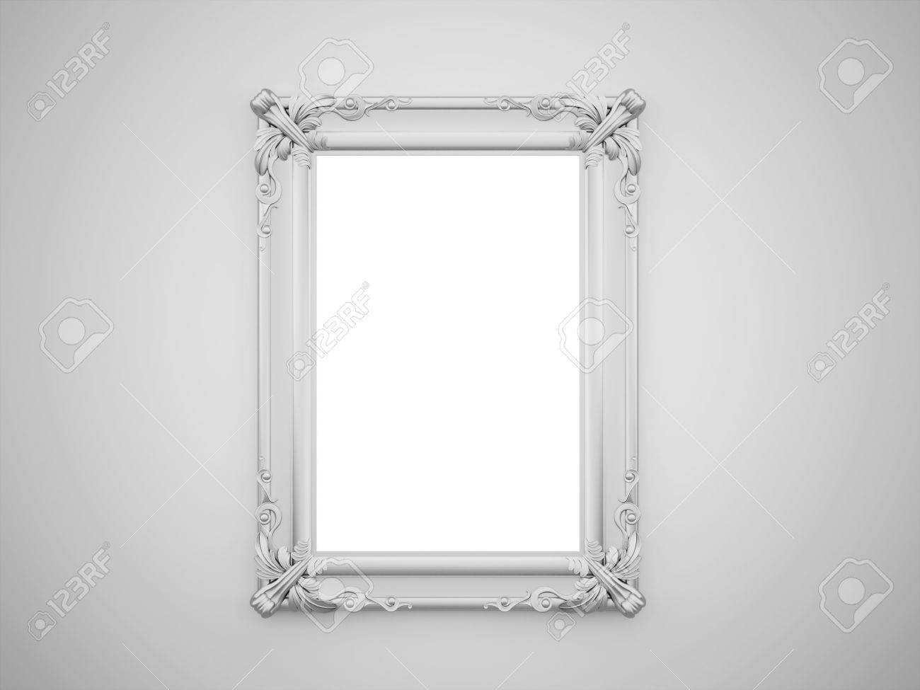 Vintage Mirror With Silver Frame On The Wall Rendered Stock Photo ...
